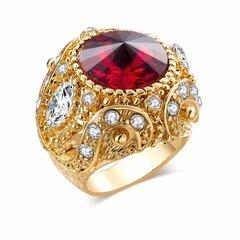 Anéis de Dedo do vintage Rodada Gemstone Zircon Ouro Geométrica Anéis Jóias Étnicas para Homens