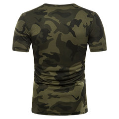 Mens Camouflage O-neck Short Sleeve Slim Fit Casual Summer Cotton T Shirts