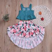 Elegante con volantes niñas correa superior floral falda asimétrica conjunto para 2-9Y