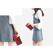 Women 14Cards Phone Bag Casual Genuine Leather Wallet