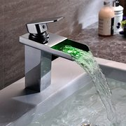 Mixer Tap Glass Waterfall Bathroom Bathtub 3 Color LED Basin Sink Modern Faucet 1/2 Inches