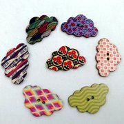 50 Pcs Colorful Clouds Shaped Wooden Sewing Buttons DIY Craft Materials