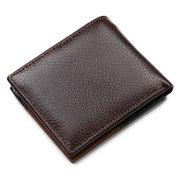 Vintage Genuine Leather Patchwork Trifold Wallet For Men