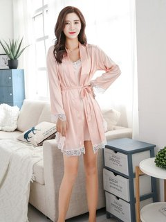 Sexy Pajamas Silk Two-piece Sling Long-sleeved Robe Suit Home Clothes