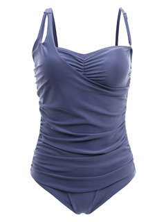 Plus Size Solid Color Slim One Piece Swimsuit Swimwear For Women