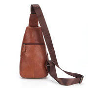Men Solid Genuine Leather Chest Bag Cowhide Casual Sling Bag