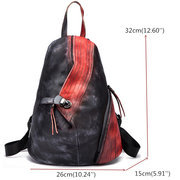 Brenice Cowhide Backpack Vintage Buckle Contrast Color Book Bags