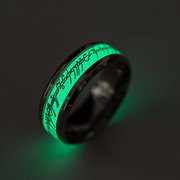 Trendy Luminous Finger Ring Silver Gold Pattern Green Light Hand Accessories Jewelry for Men