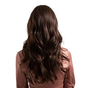 Long Curly Synthetic Wigs Brown Middle Bangs Natural Curly Hair Wigs For Women 24 Inch