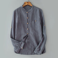 Mens Casual Loose Breathable Pocket Single Breasted Linen Solid Color Shirt