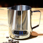 600ML Stainless Steel Coffee Milk Frothing Pitcher With Built-In Thermometer