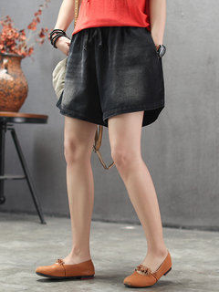Drawstring Solid Color Casual Denim Shorts For Women