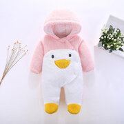 Thick Warm Cute Penguin Pattern Hooded Baby Outfit Comfy Jumpsuit For 0-36M