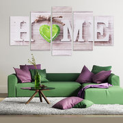 5Pcs Love HOME Canvas Painting Wall Art Bedroom Living Room Home Decor Unframed