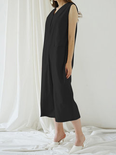 Sleeveless Culottes Dungaree Overalls Pockets Jumpsuit