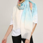 180CM Women's Cotton Graffiti Sunshade Summer Beach Scarves Windproof Casual Soft Scarves