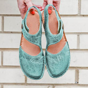 Large Size Women Casual Soft Stitching Open Heel Hook Loop Closed Toe Sandals