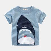 Shark Print Jungen T-Shirt Kurzarmshirts für 2-9 Jahre