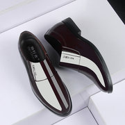 Men Pure Color Leather Slip Resistant Slip On Casual Formal Shoes