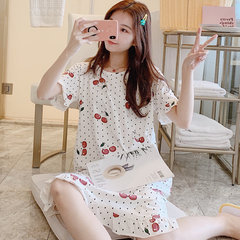 Cherry Cotton Nightdress Female Fresh Students Can Wear Pregnant Women Loose Dress Short-sleeved Pajamas Day