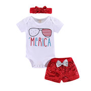3Pcs Sequined Girls Short Set For 0M-18M