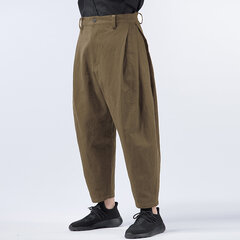 Mens Multi-Fold Cotton Linen Loose Solid Color Mid Waist Casual Harem Pants