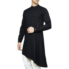 Mens Mid-long Indian Arab Muslim Middle East Dress Robe Slim Blouse Kaftan T-shirt