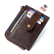 RFID Antimagnetic Genuine Leather Multi-functional Card Holder Coin Bag Wallet For Men