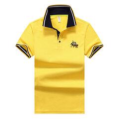 Camisa Masculina de Primavera Verão com Logotipo Bordado de Manga Curta de Negócios Casual