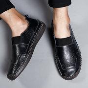 Мужские рука шить эластичные панели Soft подошвы больших размеров повседневная кожаная обувь