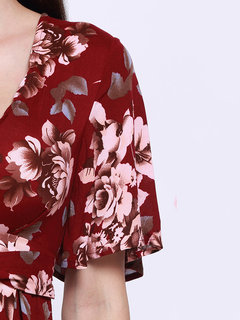 Women Sexy Vintage Floral Print V Neck Playsuit
