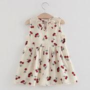 Cute Strawberry Шаблон O-образный вырез без рукавов Платье для детей, девочек