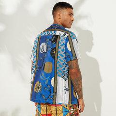 Mens Summer Funny Hit Farbe Floral bedruckte Umlegekragen Kurzarm Casual Shirts