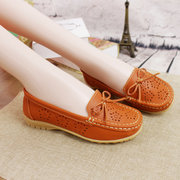 Hollow Out Breathable Bowknot Leather Slip On Soft Loafers