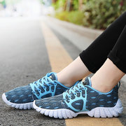 Big Size Mesh Pure Color Platform Breathable Lace Up Trainers
