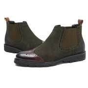 Uomo Casual Stivaletti Brogue Slip-On in Camoscio con Elastico
