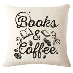 Coffee Books Theme Pillow Case Chair Sofa Seat Back Cushion Cover Home Decor
