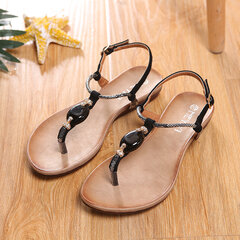 Beaded Solid Buckle Vintage Sandals