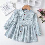 Cute Ruffles Girls Long Sleeve Printed Dress For 1-5Y