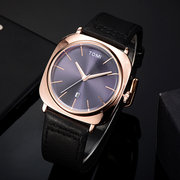 Fashion Men's Bussiness Watches Date Cushion Dial Quartz Minimalist Watches Leather Mens Watches