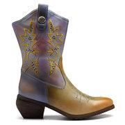 SOCOFY راعية البقر عارضة الربط نمط جلد طبيعي خياطة منخفض كعب منتصف العجل سستة الأحذية