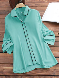 Women Casual Solid Color Lapel Long Sleeve Shirt