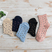 Women Spring Floral Curly Middle Tube Socks Cotton Breathable Lovely Middle Tube Funny Socks