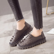 SOCOFY Sooo Comfy Casual Stitching Leather Slip On Flat Shoes