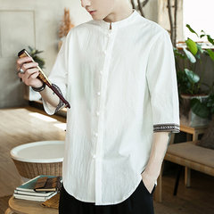 Mens Retro Cotton Fashion Chinese Style Linen Slim Fit Casual Half-Sleeves Shirt