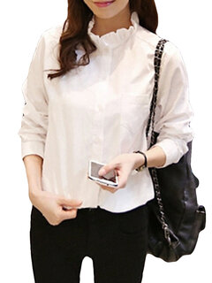 Ruffles Neck Solid Color Long Sleeve Shirt