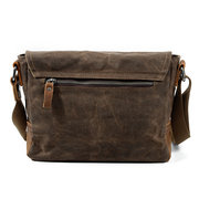 Vintage Canvas Genuine Leather Waterproof Shoulder Bag Messenger Bag Crossbody Bag For Men