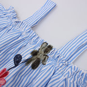Flower Embroidered Girl Off Shoulder Striped Dress For 2-9Years