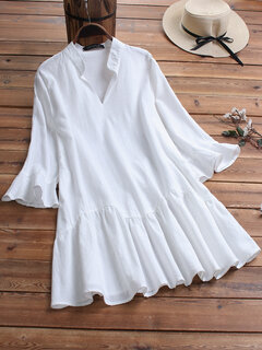 Horn Sleeve Solid Color Stand Collar Casual Blouse