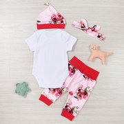 4Pcs Newborn Baby Girls Floral Printed Clothing Set For 0-24M